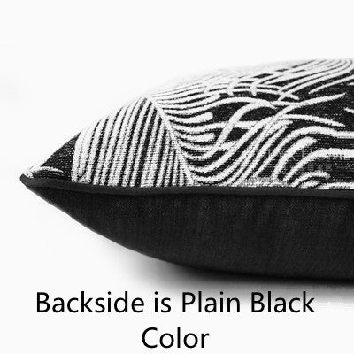 European Luxury Black Silver Peacock Feather Jacquard Cushion Cover - Jance Samantha Beauty & Fashion