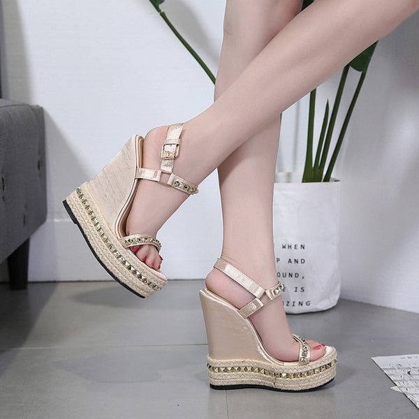 Platform Ankle Strap Rivet Wedges - Jance Samantha Beauty & Fashion