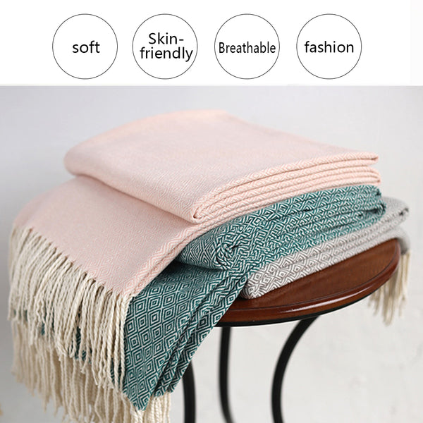 Plaid Tapestry With Tassel Nordic Knitted Artificial Wool Blanket - Jance Samantha Beauty & Fashion