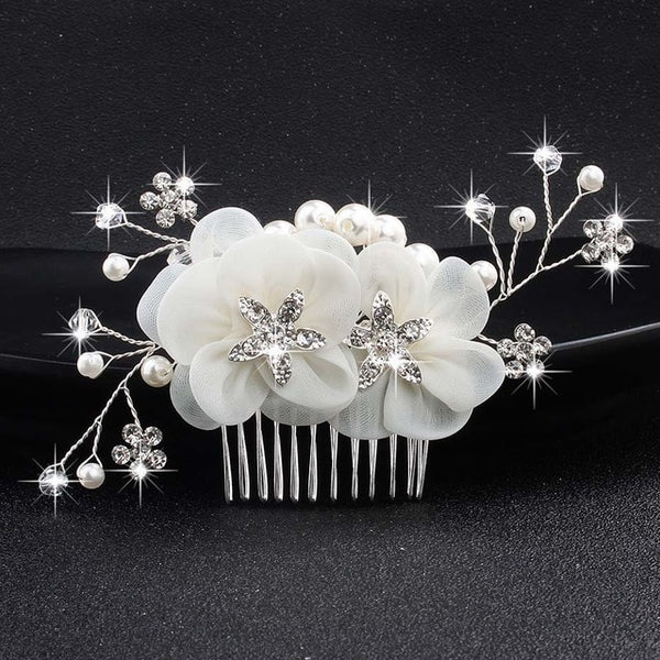 Crystal Peals Hair Combs Bridal Hair Clips - Jance Samantha Beauty & Fashion