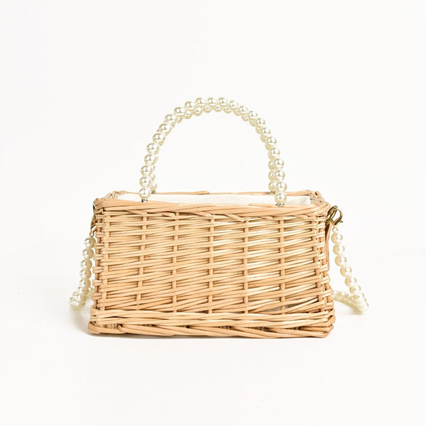 Mini Portable Rattan Pearl Crossbody Bag - Jance Samantha Beauty & Fashion