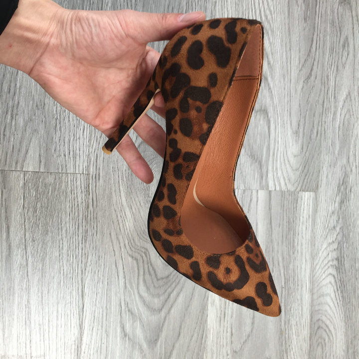 Leopard Print Suede High Heels - Jance Samantha Beauty & Fashion