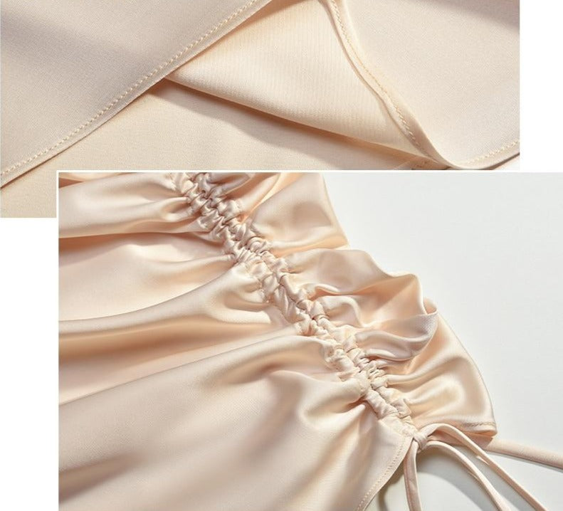 Sexy Low Cut Satin Elegant Court Party Drawstring Dresses - Jance Samantha Beauty & Fashion