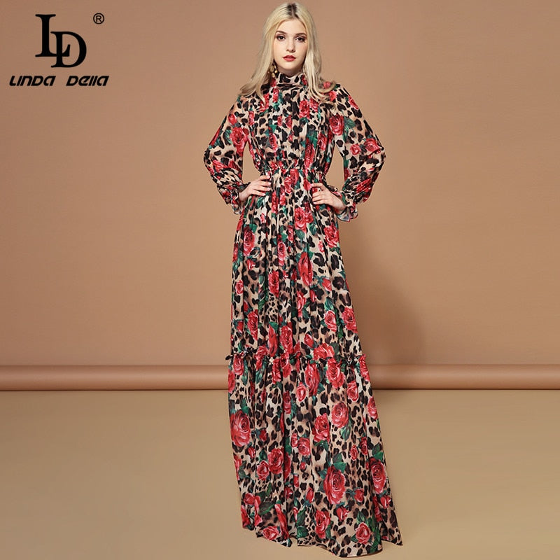 Fashion Runway Rose Floral Leopard Print Long Dress - Jance Samantha Beauty & Fashion