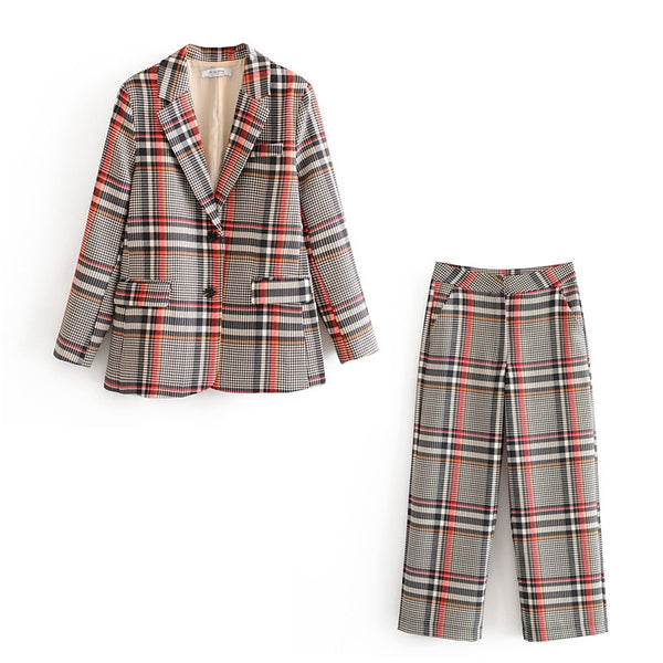 Vintage Plaid Suit Set - Jance Samantha Beauty & Fashion