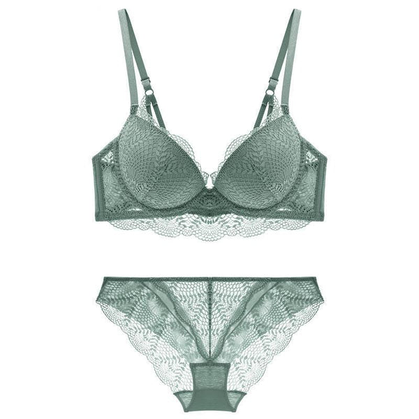 Lace Push-up Comfortable Brassiere Adjustable Gathered Lingerie Set - Jance Samantha Beauty & Fashion
