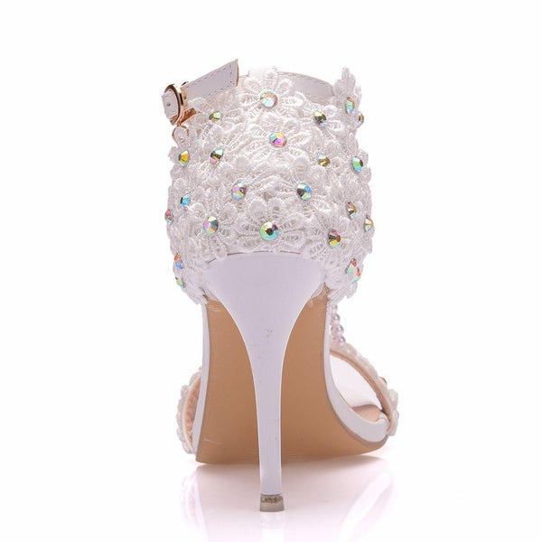 White Lace Flowers Pearl Tassel Bridal Fine High Heels - Jance Samantha Beauty & Fashion