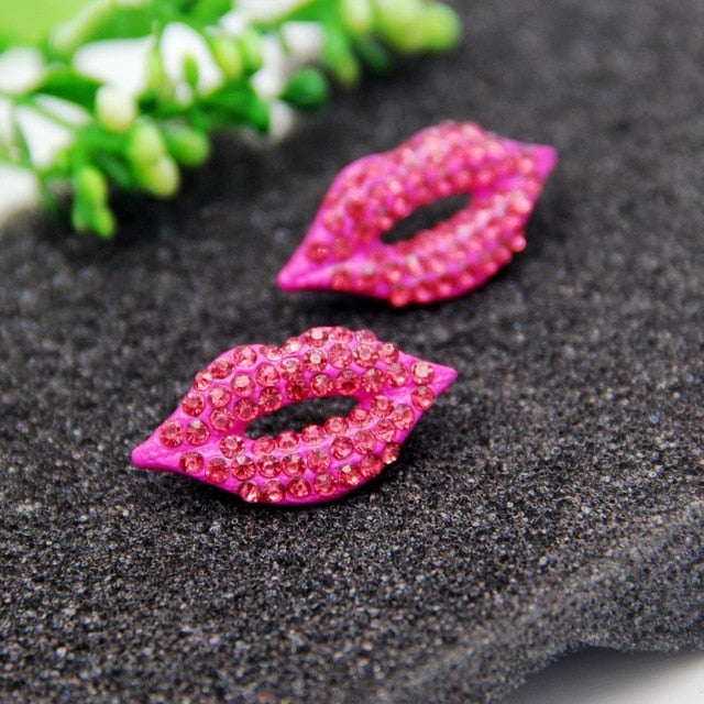 Elegant Sexy Red Lips Crystal Stud Earrings - Jance Samantha Beauty & Fashion