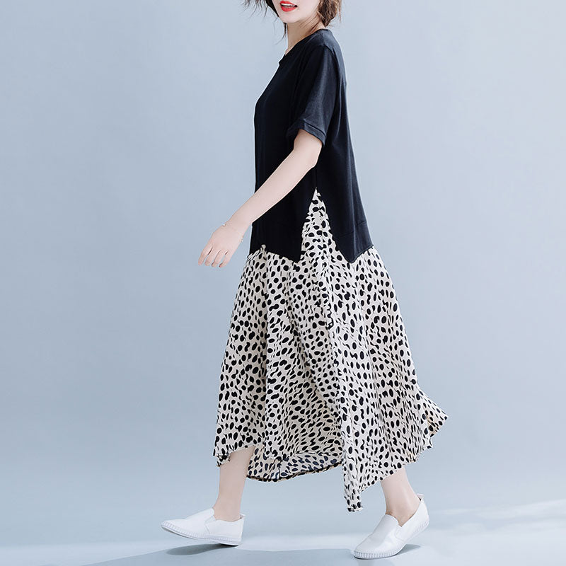 Leopard Print Loose Cotton Spliced Dress - Jance Samantha Beauty & Fashion