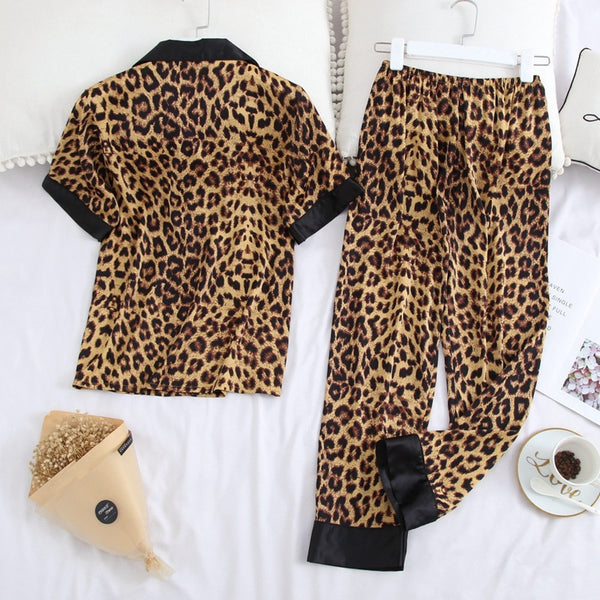 Leopard Printed Nightwear Casual Lapel Collar Short Sleeve Couples  Sleepwear - Jance Samantha Beauty & Fashion
