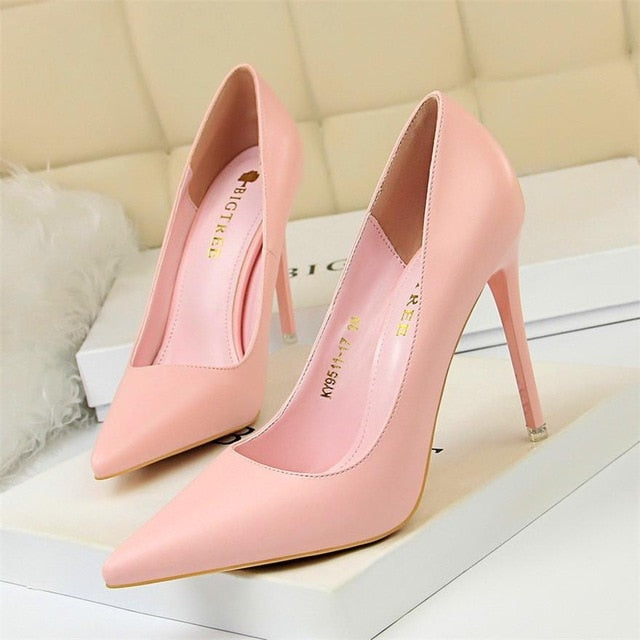 Soft Leather Shallow Fashion Women's High Heels - Jance Samantha Beauty & Fashion