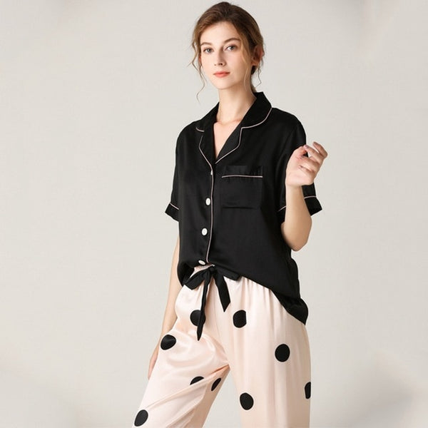 Faux Silk Pajamas Dot Striped Soft Short Sleeve Sleepwear Lapel Collar Homewear - Jance Samantha Beauty & Fashion