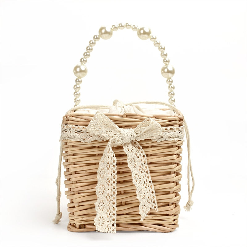 Square Net Wild Mini Foreign Style Hand-woven Pearls Handbag - Jance Samantha Beauty & Fashion