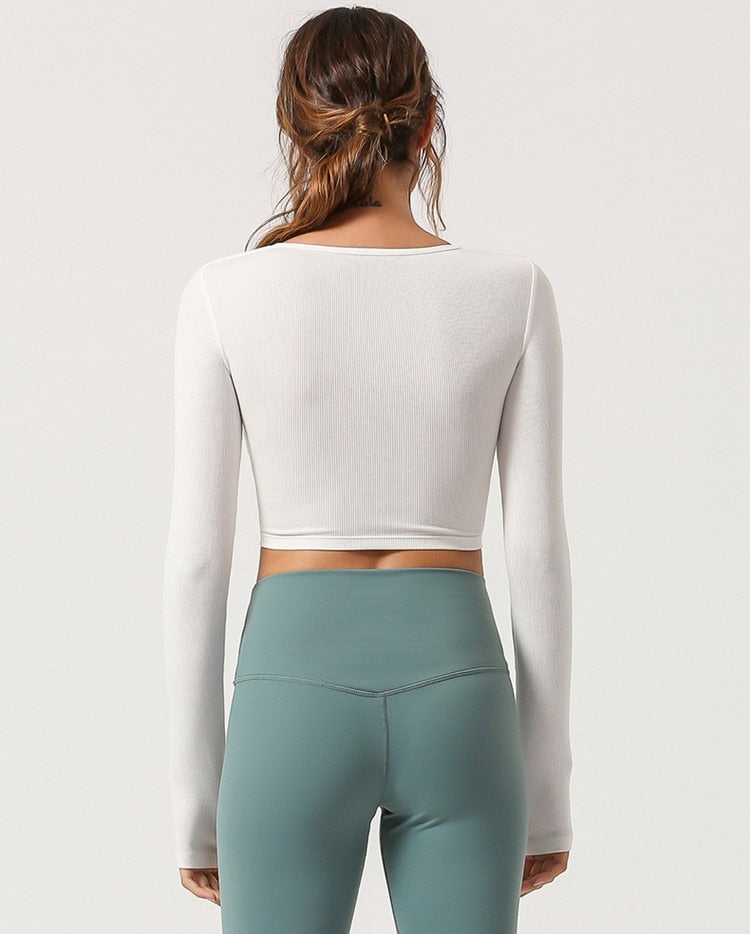 Cropped Top Tight Sport Shirts - Jance Samantha Beauty & Fashion