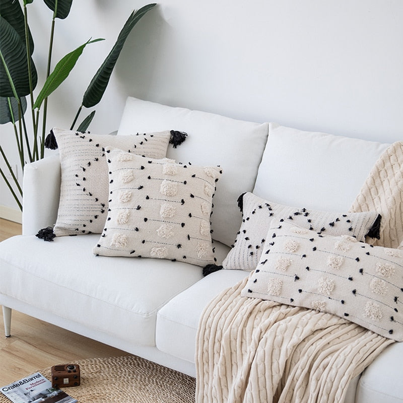 White Black Geometric Moroccan Style Home Decor - Jance Samantha Beauty & Fashion
