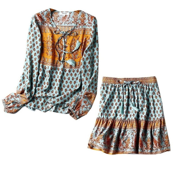 Bohemian Lacing Up Tassel Floral Shirt Waist Mini Short Skirt Set - Jance Samantha Beauty & Fashion