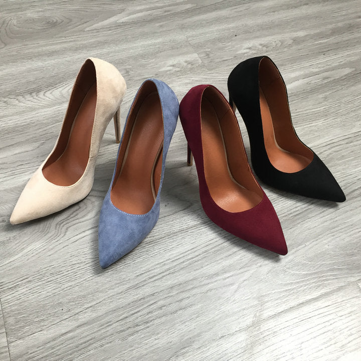 Suede Shoes Elegant Ladies Pointed Toe Stiletto - Jance Samantha Beauty & Fashion