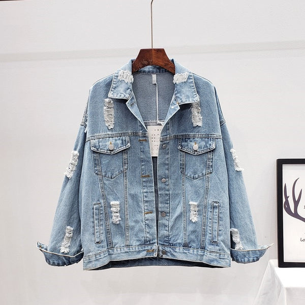 Frayed Holes Sequin Floral Appliques Embroidery Jeans Jacket