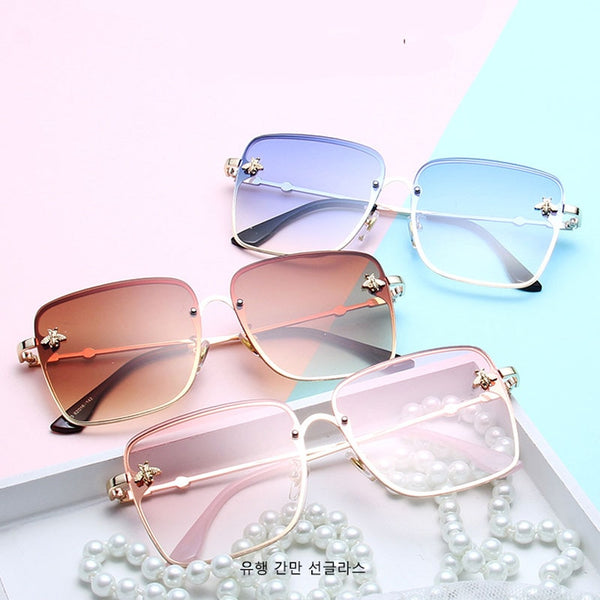 Oversize Clear Pink Gradient Square Bee Sun Glasses UV400 - Jance Samantha Beauty & Fashion