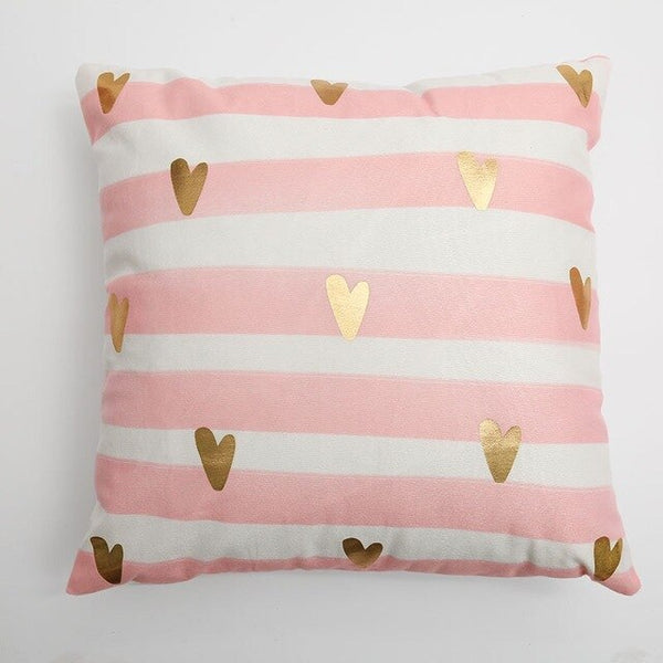 Golden Heart Pink Pillow Cover Soft Gold Foil Home Decorative Cushion Cover - Jance Samantha Beauty & Fashion