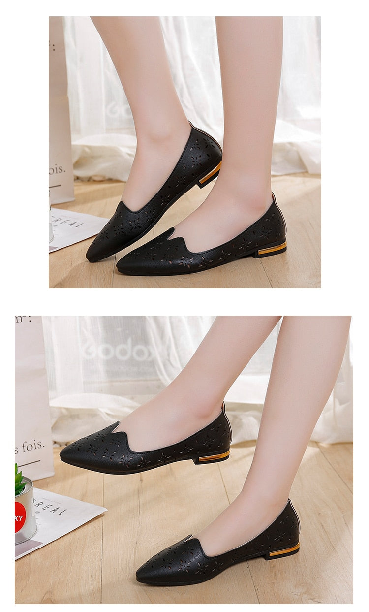 Casual Point Toe Loafers Shallow Shoes - Jance Samantha Beauty & Fashion