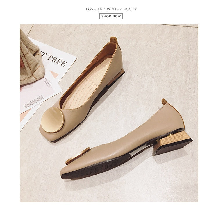 Low Wooden Low Heel Ballet Square Toe Shallow Shoes - Jance Samantha Beauty & Fashion
