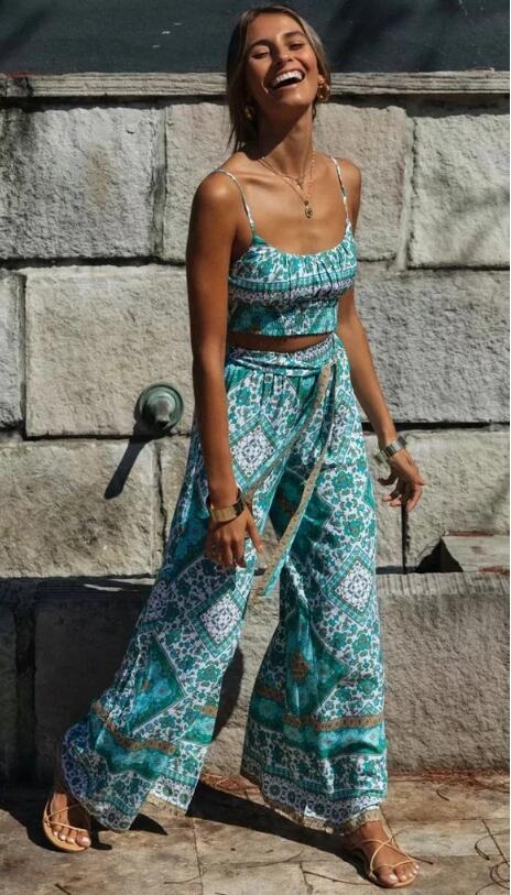 Bohemian Elastic Hem Floral Print Crop Top & Sashes Wide Leg Pants - Jance Samantha Beauty & Fashion