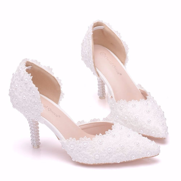 Pearl White Lace Bride Dress Shoes - Jance Samantha Beauty & Fashion