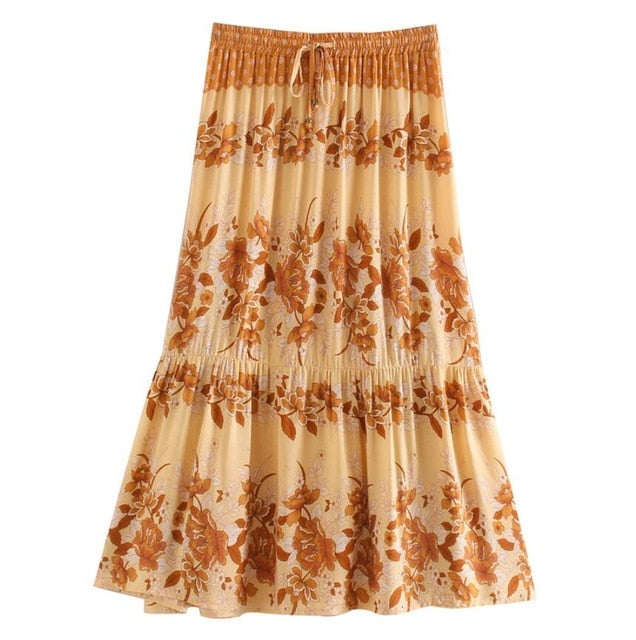 Bohemian Stream Flower Print Long Skirt Stitching Ruched Ruffle Hem - Jance Samantha Beauty & Fashion
