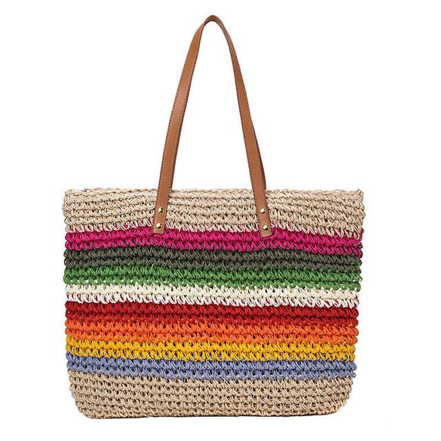 Rainbow Color  Rattan Woven Handmade Knitted Straw  Tote - Jance Samantha Beauty & Fashion