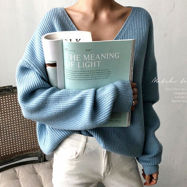 Casual V Neck Women Pullover Sweater - Jance Samantha Beauty & Fashion