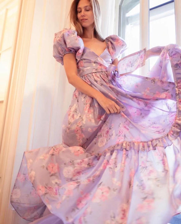 Bright Like Silk Lavender Floral Print Dress - Jance Samantha Beauty & Fashion
