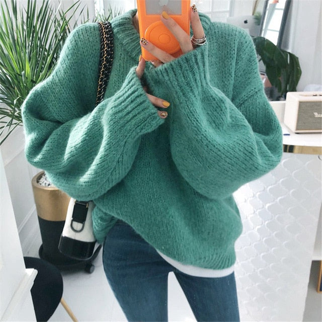 O Neck Pullover Sweaters Korean Style Knitted Long Sleeve Casual Tops - Jance Samantha Beauty & Fashion