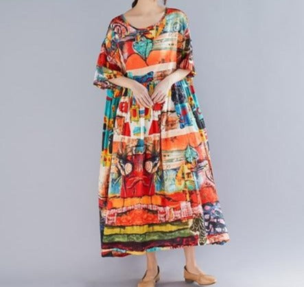 Plus Size Print Summer Dress - Jance Samantha Beauty & Fashion