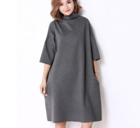 TurtleneckCotton Knitting Elegant Solid Dresses - Jance Samantha Beauty & Fashion