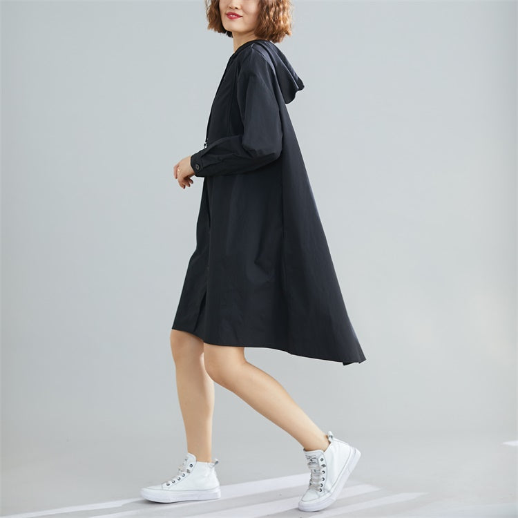 Plus Size Long Sleeve Hooded Cotton Dress - Jance Samantha Beauty & Fashion