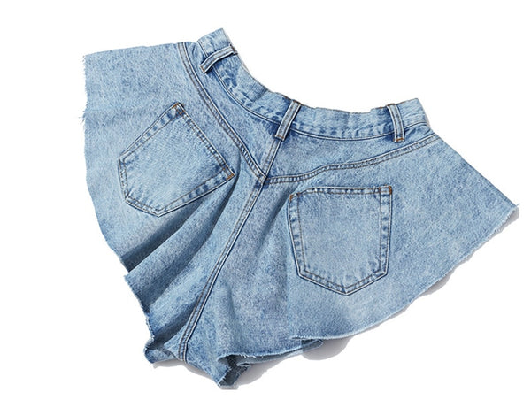 Casual Denim High Waist Ruffle Hem Loose Ruched Short Pants - Jance Samantha Beauty & Fashion