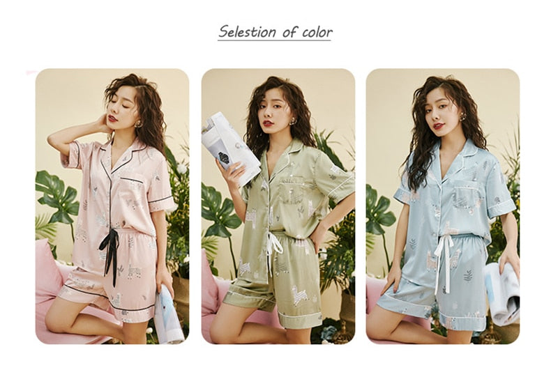 Cute Cartoon Faux Silk Pajamas Set Leisure Lace - Jance Samantha Beauty & Fashion