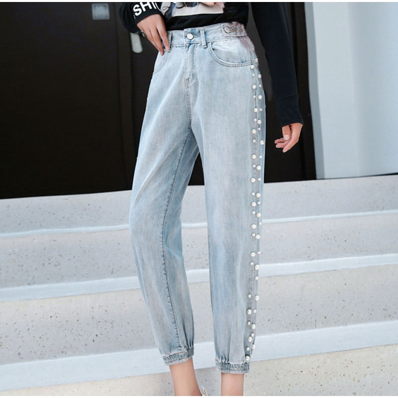 Pearl Beaded Ankle Length Jogger Jeans - Jance Samantha Beauty & Fashion