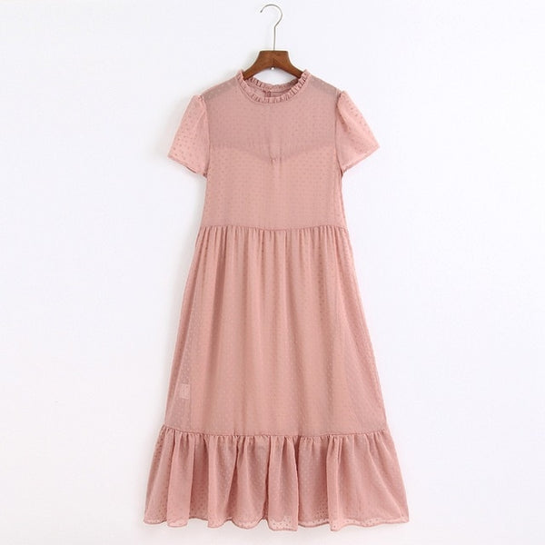 Fashion Dots Ruffles Collar Dress - Jance Samantha Beauty & Fashion