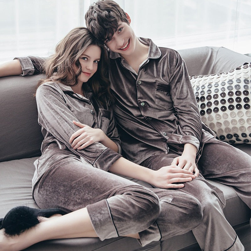 Autumn Winter Couple Gold Velvet Top And Pants Pajamas - Jance Samantha Beauty & Fashion