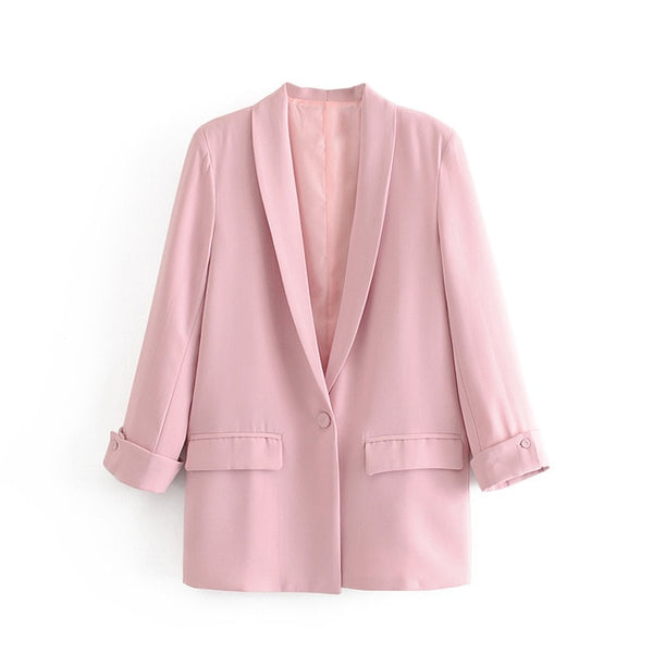 Long Blazer Jacket Pleated Sleeve Loose Blazer - Jance Samantha Beauty & Fashion