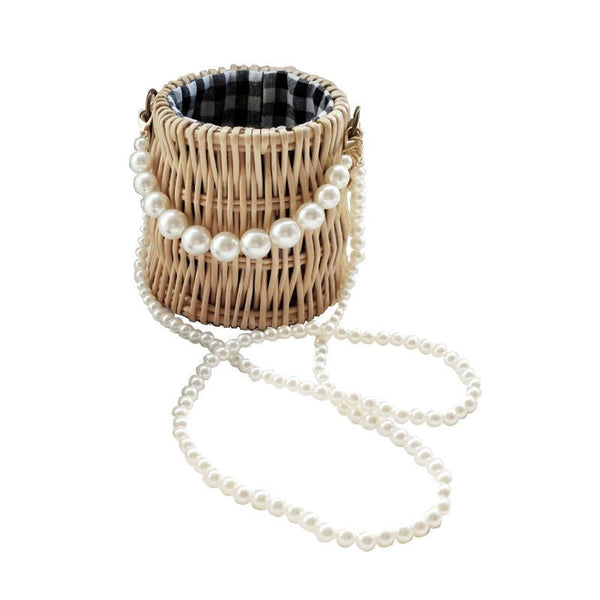 Pearl Hand-Woven Straw Bag - Jance Samantha Beauty & Fashion