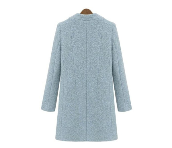 Turquoise Blue White Simple Woolen  Notched Thick Tweed Outerwear - Jance Samantha Beauty & Fashion