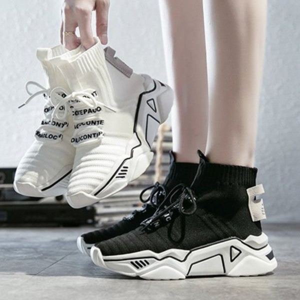 High Top Platform Chunky Sneakers Women Lace-up Stretch Fabric Casual - Jance Samantha Beauty & Fashion