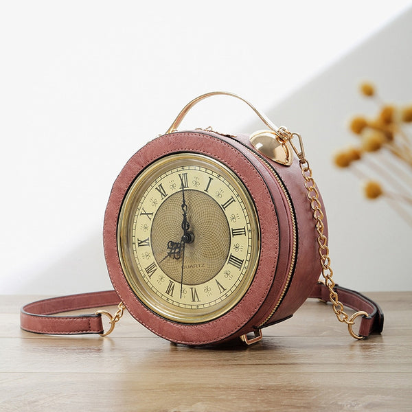 Vintage Real Alarm Clock High Quality Chain Circular Crossbody Bag - Jance Samantha Beauty & Fashion