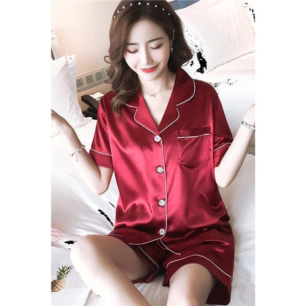 Faux Silk Simple Pure Color Leisure Nightwear Pajamas Set - Jance Samantha Beauty & Fashion
