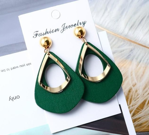 New Korean Acrylic Statement Vintage Geometric Gold Dangle Drop Earrings - Jance Samantha Beauty & Fashion