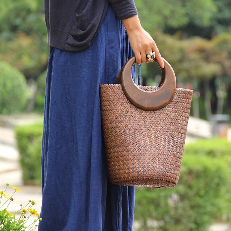 Wooden Handle Retro Woven Bucket Bag - Jance Samantha Beauty & Fashion