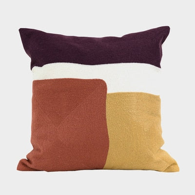 Simple Abstract Geometric Cotton Thread Embroidery Cushion cover - Jance Samantha Beauty & Fashion